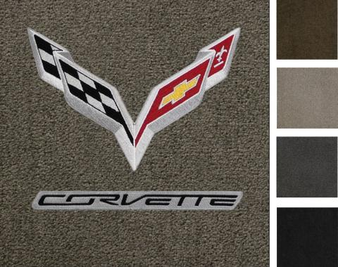 Corvette Floor Mats, 2 Piece Lloyd® Ultimat™, with C7 Flags & Corvette Script, 2014-2016