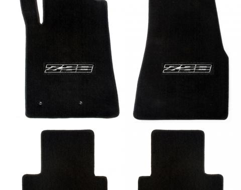 Camaro Floor Mats, 4 Piece Lloyd® Velourtex™, with Z28 Logo in Black, Red Carpet, 1982-1992