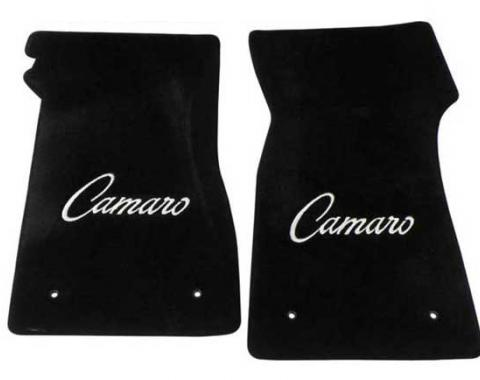 Camaro Floor Mats, 2 Piece Lloyd® Velourtex™, with Camaro Script in Silver, Black Carpet, 1967-1969