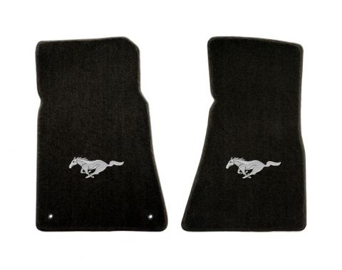 Mustang Floor Mats, 2 Piece Lloyd® Velourtex™, with Silver Running Horse, Black Carpet, 1964-1973