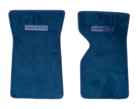 Corvette Carpet Floor Mats, Cut Pile, Replacement, Dark Blue, 1978-1980 & 1982