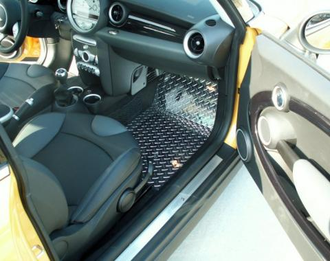 Mini Cooper Coupe S Floor Mats Diamond Plate 4Pc Polished 2007-2008