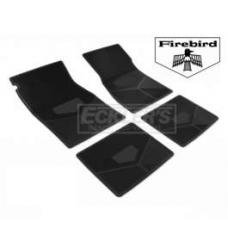 Firebird Rubber Floor Mats, With Block Firebird Script And Bird Emblem, Black, 1967-1969