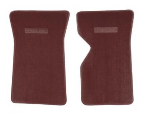 Corvette Floor Mats, 2 Piece ACC Cut Pile, with Embossed Emblem, Dark Red (26), 1981-1982