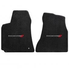 Charger Floor Mats, 2 Piece Lloyd® Velourtex™, with Dodge Logo, Ebony, 2006-2010